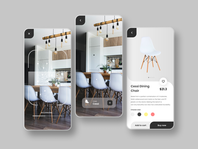 AR IMPLEMENTATION - FURNITURE APP furniture design furniture app 3d illustration design app ux uiux dailyui ui