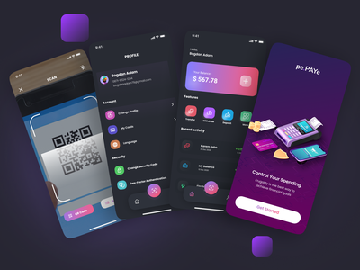E-WALLET | DARK MODE dark theme dark mode dark app dark ui dark branding dailyui uiux design finance app finance elegant ewallet ui