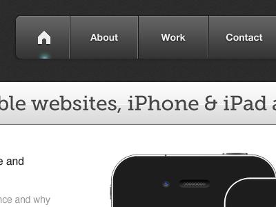 Header refinement dark header website home glow iphone