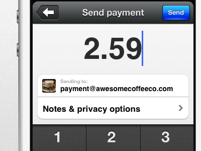 Send payment settle payment ios iphone