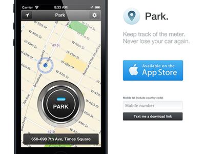 Park promo site park app web iphone store map