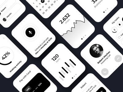 Watch UI kit pay card smart money apple watch clean minimalist lifestyle steps chart uxkit uikit blackandwhite watchos watch apple wireframe bw monochromatic monochrome
