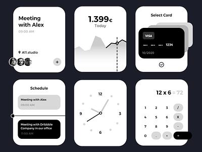 Apple Watch UI - Business ux kit monochromatic monochrome money apple watch lifestyle clean minimal clock schedule payment card calculator widgets greyscale blackandwhite ui kit apple watch