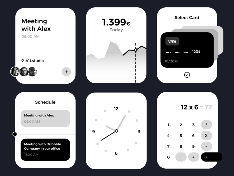 Apple Watch UI - Business ux kit monochromatic monochrome money apple watch lifestyle clean minimal clock schedule payment card calculator widgets greyscale blackandwhite ui kit apple watch
