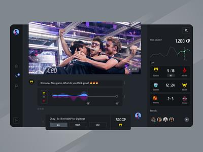 Esport Dashboard 🤟 brackets tour tournament game match score dynamic darkmode dashboard live event team twitch xp points chat esports