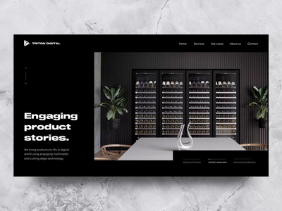 Triton concept reveal modern trend animation easing portfolio landing dark loading ease loader reveal homepage digital showcase carousel template kitchen wine