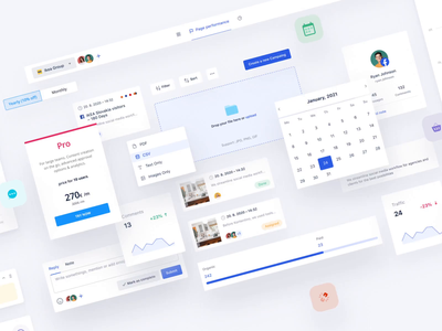 Kontentino Components case study chart collaborate features grid handoff boxes widgets flat silicon admin system dashboard design system ui kit component widget minimal loop infinite