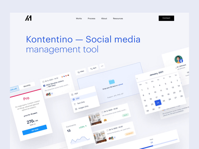 Kontentino Case Study by A11.studio parallax marketing tool social media brand colorful modern landing page promo project use case case study kontentino