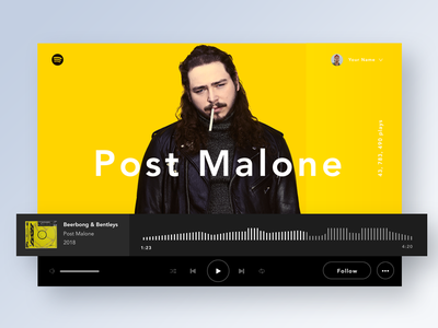 Spotify redesign | Music player | Daily UI Challenge #009 2018 trend minimalist spotifydesign redesign spotify malone post challenge player music dailyui