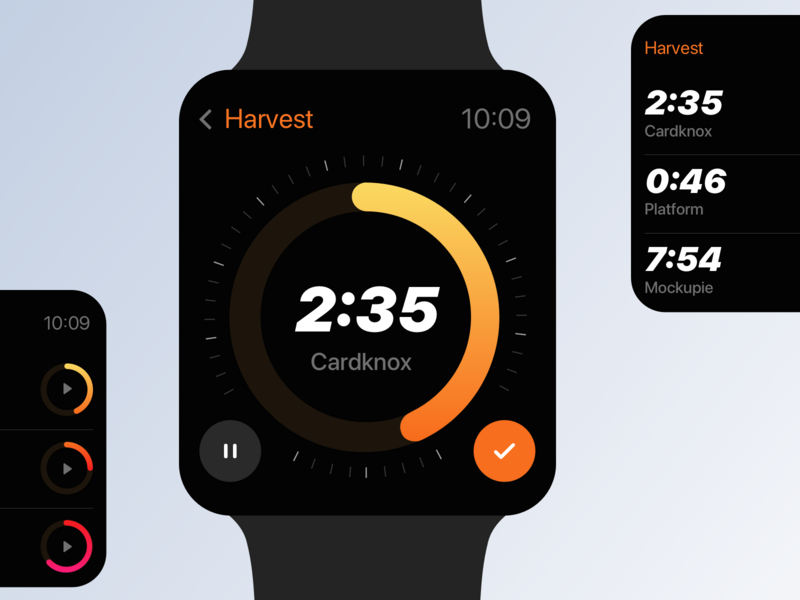 Harvest timer | Apple watch app chart pie timer dark mode daily ui countdown timer countdown challange concept minimal apple watch