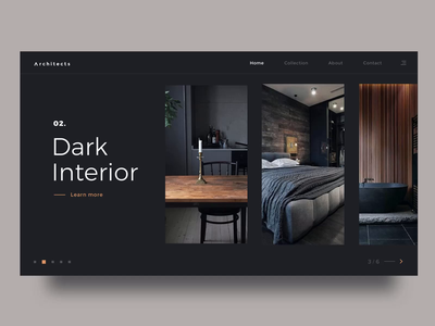 Architects Landing Page redesign archdaily arch architecture cards screen elegant interior easing modern landing black dark animation 2019 minimal architect
