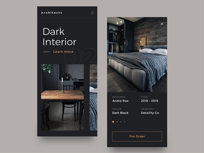 Architects Mobile layout dark theme elegant interior design furniture interior modern minimal dark app responsive app archdaily architect architecture