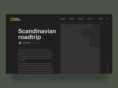 National Geographic Blog scandinavian concept redesign depends scroll scrolling smooth geographic geo national map dynamic animation blog live
