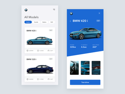 BMW Responsive page app dynamic light theme white theme responsive trend modern minimal metalic cards eshop azure automotive car bmw 360 view