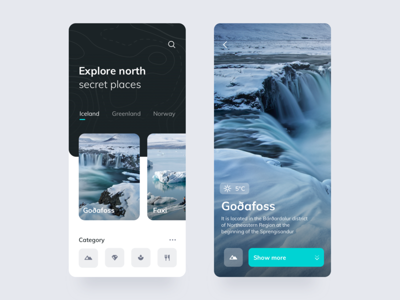 Explore App greenland iceland country simple search place discover waterfall light theme theme winter category cards easing trend contrast north north face explore app travel app