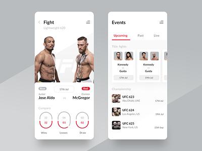 UFC Fight dynamic bet boxing thai wrestling sport aldo compare mcgregor connor app design light app light theme cards events mma fighter fight ufc