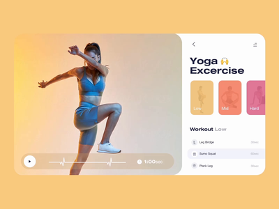 Fitness App - Select workout 🙌 font dashboard trainer trainee virtual personal personalized assistant assist choose excercise fit tablet app tablet easing light theme sun fitness app app fitness