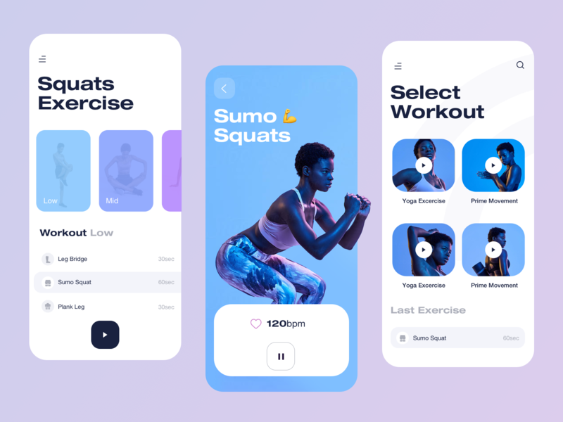 Fitness App Mobile ai yoga ios iphone personalized personalised personal workout exercise purple voice over assistant assist virtual trainee trainer fitness app fitness