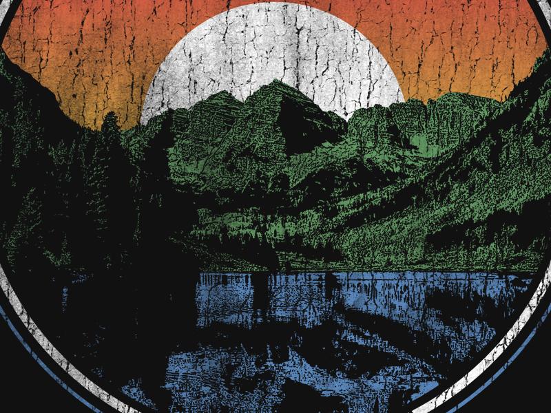 015 sun graphictshirt tshirt circle cracked gradient lake mountains distressed distress vintage