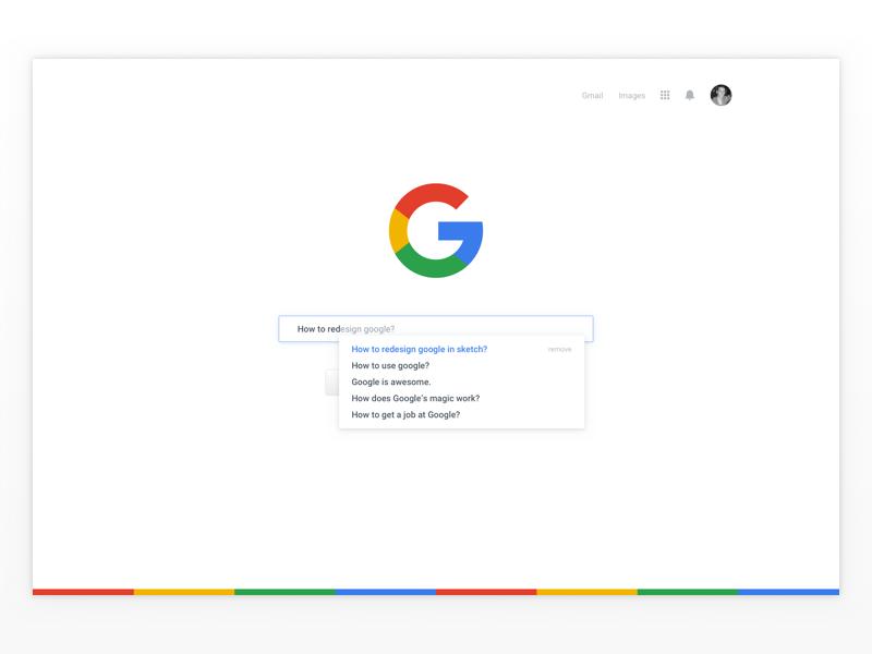 Google Search Redesign minimal web google ui