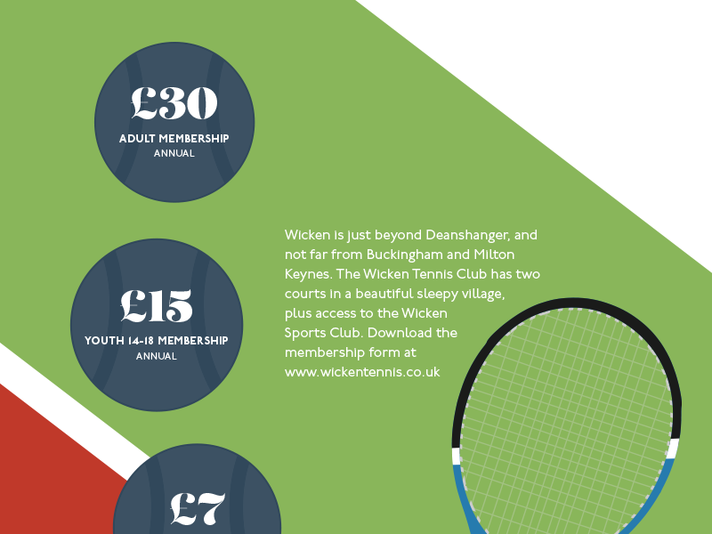 Poster for Wicken Tennis Club join membership court ball flyer poster tennis