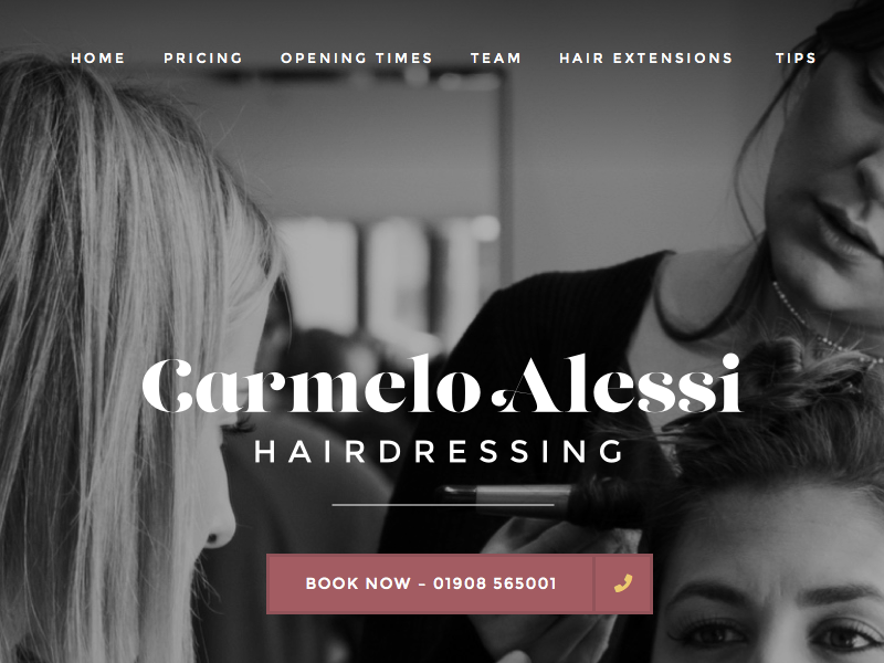 A potential homepage layout for Carmelo Alessi Hairdressing hairsdresser beauty hairdressing hair salon homepage home desktop website web