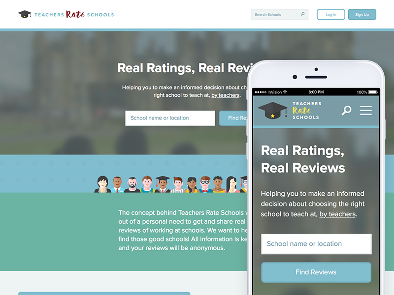New responsive homepage layout teacher invision school ratings review phone responsive mobile home desktop website web