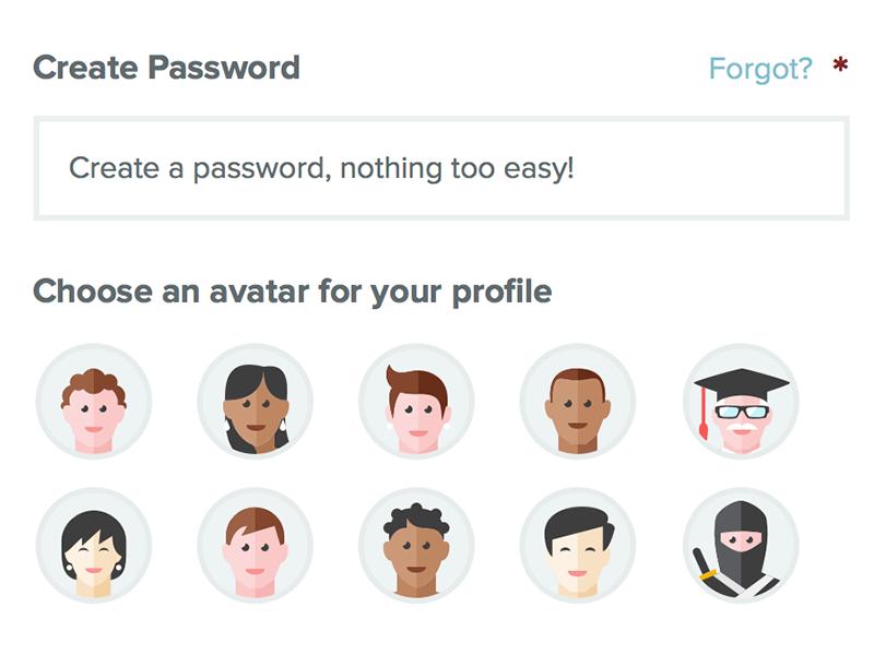 Sign Up – choose an avatar popup modal form profile avatar password sign up reviews school responsive website web