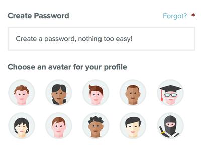 Sign Up – choose an avatar