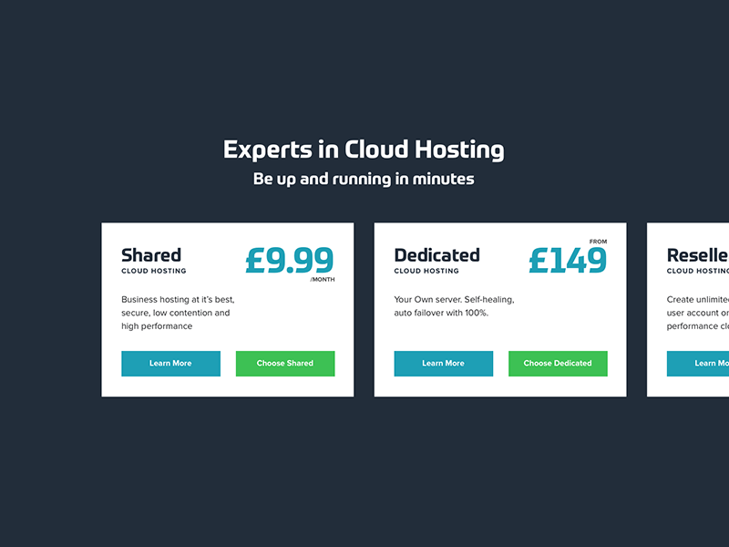 Snippet from a hosting package selection (WIP) cost off screen options packages hosting pricing