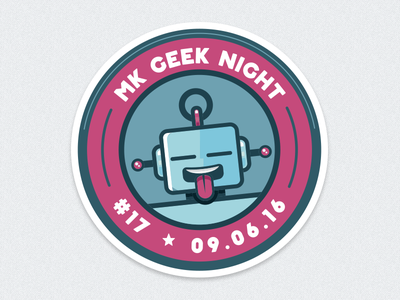 MK Geek Night #17 – Entrance Sticker swag event fun illustration circle print robot sticker milton keynes mk geek night mkgn