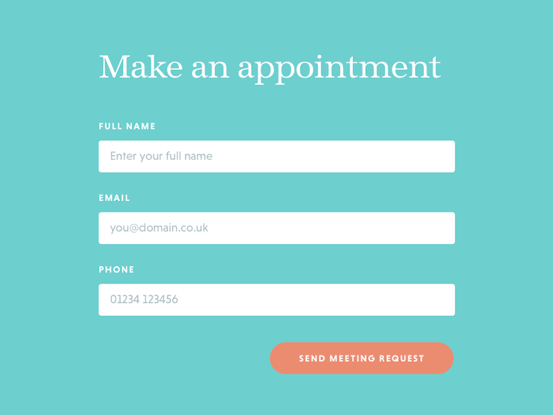 Make an appointment - modal form popup modal appointment book meeting website web form
