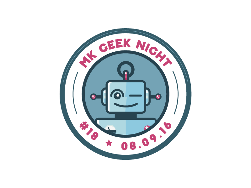 MK Geek Night #18 – Entrance Sticker swag event fun illustration circle print robot sticker milton keynes mk geek night mkgn