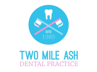 Two Mile Ash Dental Practice - logo 02a logo dentist dental branding icon tooth toothbrush ostrich sans chaparral pro
