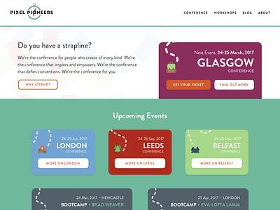 Pixel Pioneers Conference Website branding typography design web website