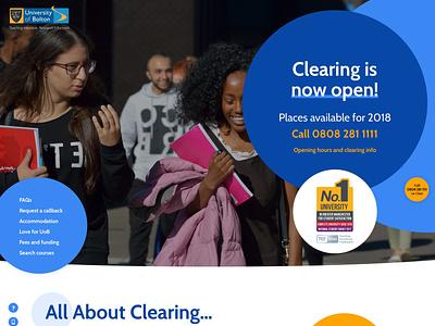 University of Bolton Clearing Website navigation homepage home web design website