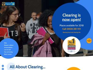 University of Bolton Clearing Website navigation homepage home web design website