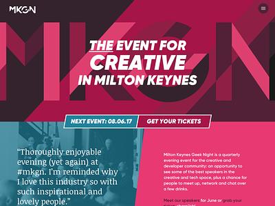 MK Geek Night Website Concepts event home homepage web design website