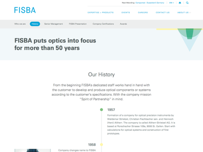 FISBA History and web layouts design web website