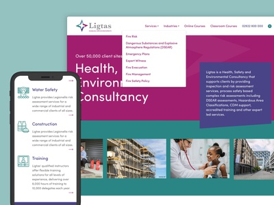 Ligtas Website course courses training homepage navigation home typography web design website