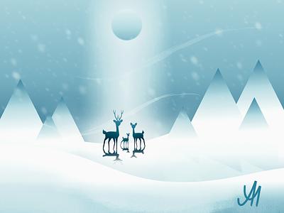 No.5 - The Deer Family vectorart affinitydesigner rebound family deer holiday winter affinity designer digital illustration vector ipad illustration graphicdesign dribbble digitalart design