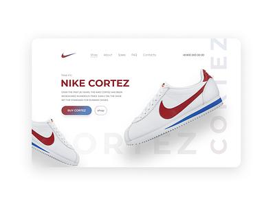 Nike shop landing page design cortez landing webdesign shop nike