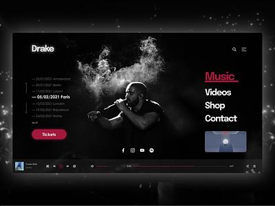 Drake landing page concert concept music tickets toronto singer rapper webdesign design landing