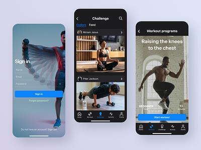 Home Fitness mobile app concept webdesign workout sport fitness mobile app concept user experience design ux