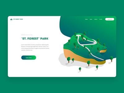 Header Forest Illustration headline lato intro cta gradient cubic clean minimal green top forest header vector illustration