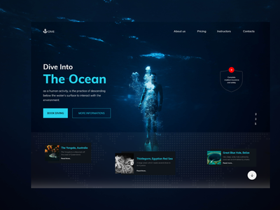 Dive -  Landing Page popular design following apps design uiconcept 3d typography uxdesign trendy branding popular shot app design 2021 ocean designers landing page ux ui uidesign uiux