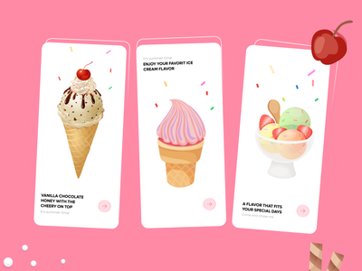 onboarding ice cream app screens apps design colors colors palette onboarding screens onboarding ui trendy ice cream app popular design popular shot popular trendy design 2021 designers ux app ui