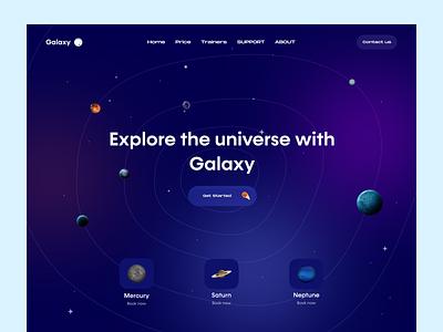 Galaxy Landing Page 🌌 uiuxpopular universe branding uiux uidesign dribblers popularshots uiinspiration trendy designers app ui ux uxdesign galaxy 3d