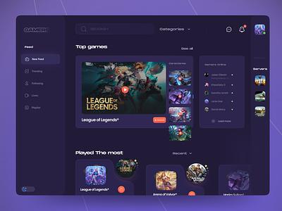 Gaming Dahboard 🎮 uipopular uitrends uiuxdesigners designtrend shots popular dribbble gamers games dashboard design ux uxdesign trendy uidesign designers uiux