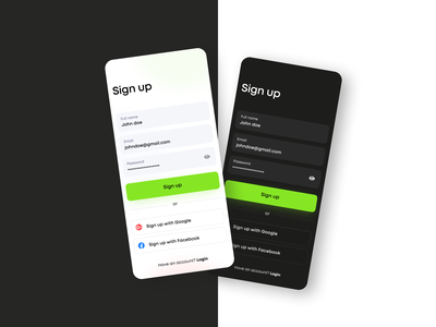 Mobile Sign Up Page web dark daily ui dailyui digital figma flat minimal interaction design app ux ui design